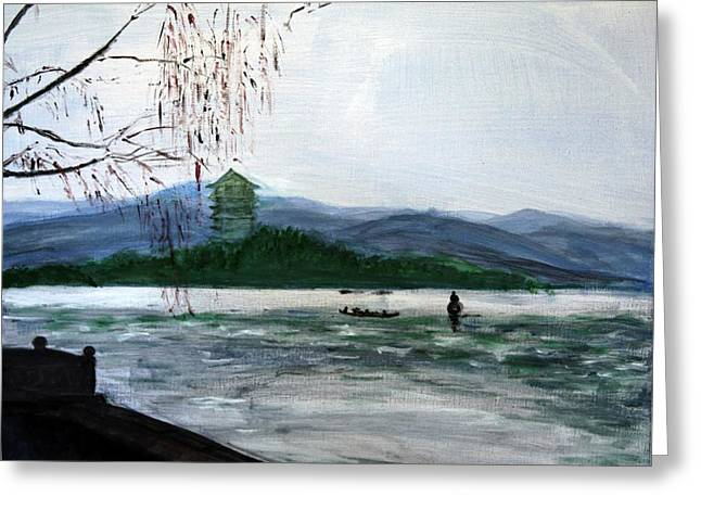 Willow Lake Mixed Media Greeting Cards - Landscape Pop arts Greeting Card by J j Jin