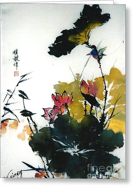 Roses Tapestries - Textiles Greeting Cards - Chinese Flower Brush Painting Greeting Card by Rose Wang