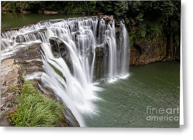 Landscape Shifen Waterfall In Taiwan Greeting Card by Fototrav Print