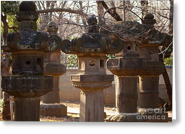 Latern Greeting Cards - Lanterns Along Path to Toshogu Shrine in Ueno Park Greeting Card by Natural Focal Point Photography