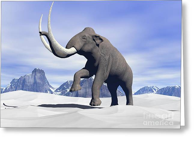 Large Mammoth Walking Slowly Greeting Card by Elena Duvernay