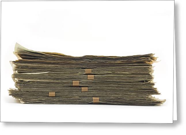 Greed Greeting Cards - Large Stack Of American Cash Money Greeting Card by Keith Webber Jr