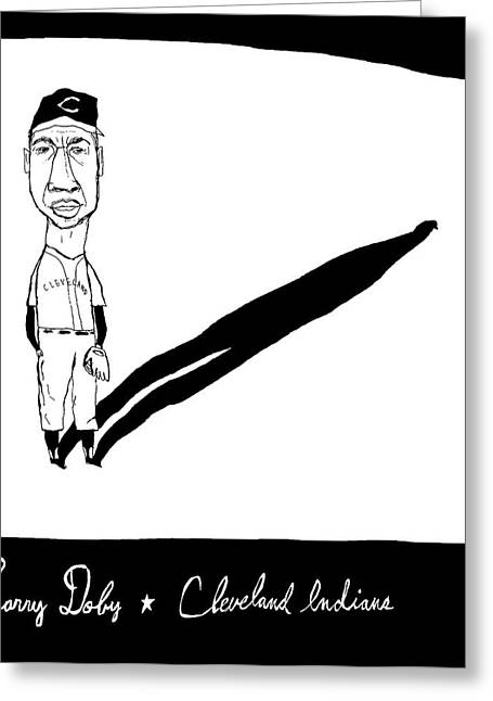 Larry Doby Greeting Cards - Larry Doby Cleveland Indians Greeting Card by Jay Perkins