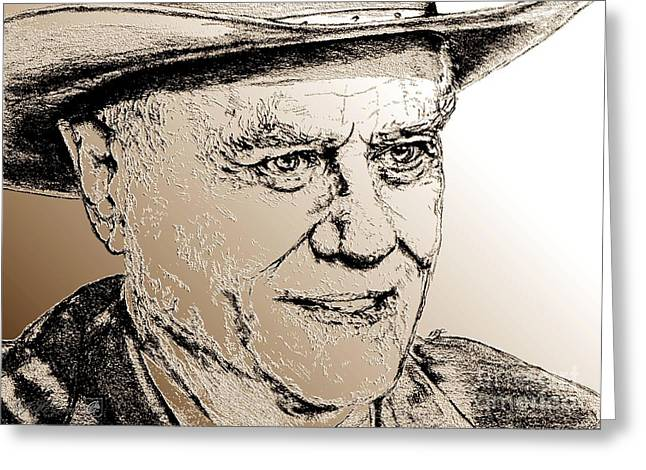 Ewing Greeting Cards - Larry Hagman in 2011 Greeting Card by J McCombie