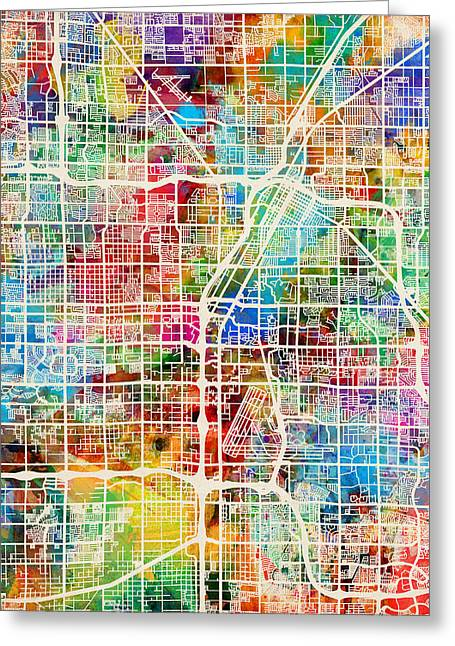 The Strip Greeting Cards - Las Vegas City Street Map Greeting Card by Michael Tompsett