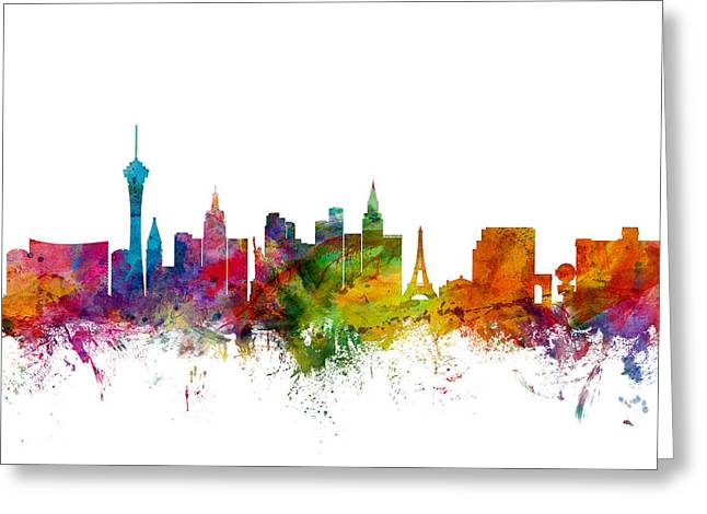 Cityscape Greeting Cards - Las Vegas Nevada Skyline Greeting Card by Michael Tompsett