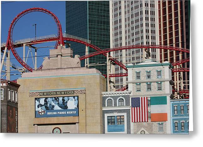Coasters Greeting Cards - Las Vegas - New York New York Casino - 12128 Greeting Card by DC Photographer