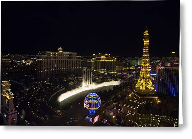 Las Vegas Art Greeting Cards - Las Vegas Strip and Fountains Greeting Card by Stephanie McDowell