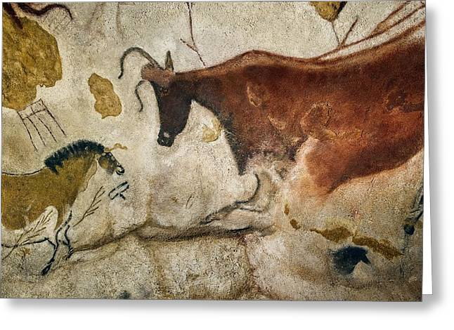 Caves Photographs Greeting Cards - Lascaux II cave painting replica Greeting Card by Science Photo Library