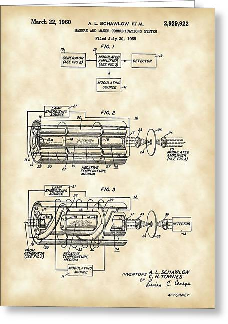 Helium Greeting Cards - Laser Patent 1958 - Vintage Greeting Card by Stephen Younts