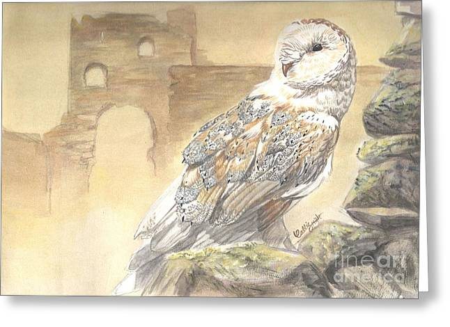 Castle. Birds Pastels Greeting Cards - Last Sentinel Greeting Card by Callie Smith