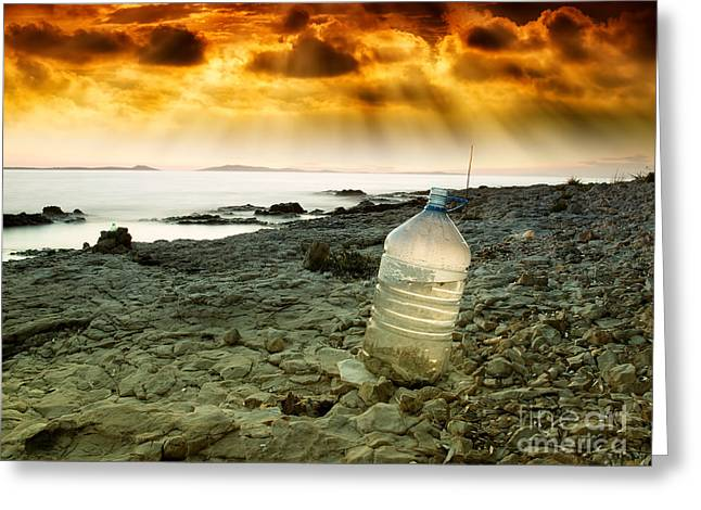 Storm Clouds; Sunset; Twilight; Water Greeting Cards - Last water Greeting Card by Sinisa Botas