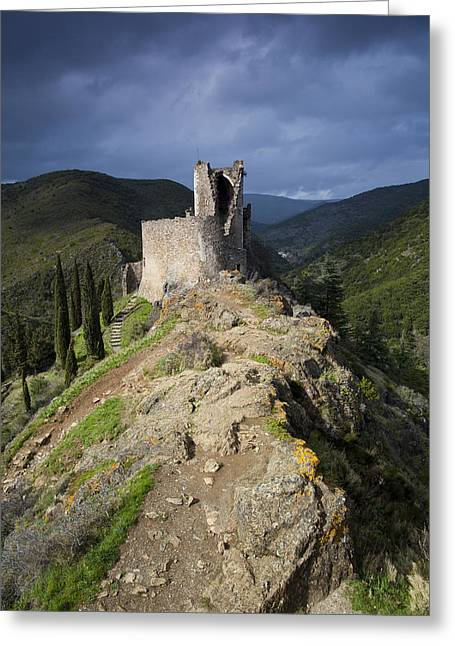 Languedoc Greeting Cards - Lastours castle Greeting Card by Ruben Vicente