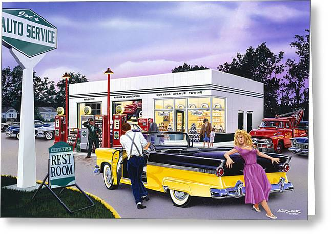 Petrol Station Greeting Cards - Late for the prom Greeting Card by Bruce Kaiser