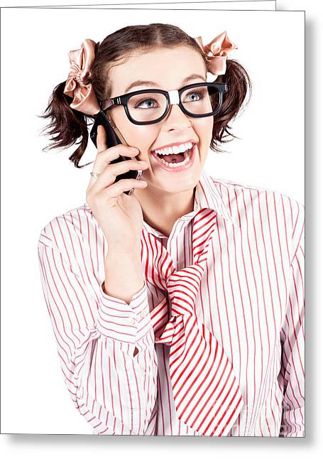 Animate Greeting Cards - Laughing nerdy woman on a smartphone Greeting Card by Ryan Jorgensen