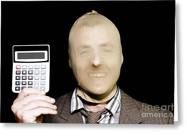 Bribery Greeting Cards - Laughing Robber Holding Calculator On Black Greeting Card by Ryan Jorgensen