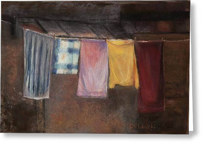 Cindy Plutnicki Greeting Cards - Laundry Day Greeting Card by Cindy Plutnicki