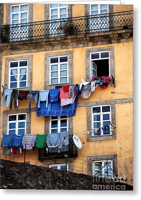 Hanging Laundry Greeting Cards - Laundry Day Greeting Card by John Rizzuto