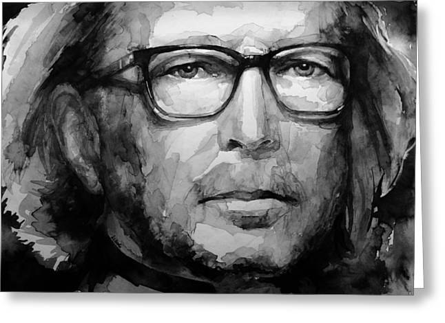 Slowhand Greeting Cards - Eric Clapton B W Greeting Card by Laur Iduc