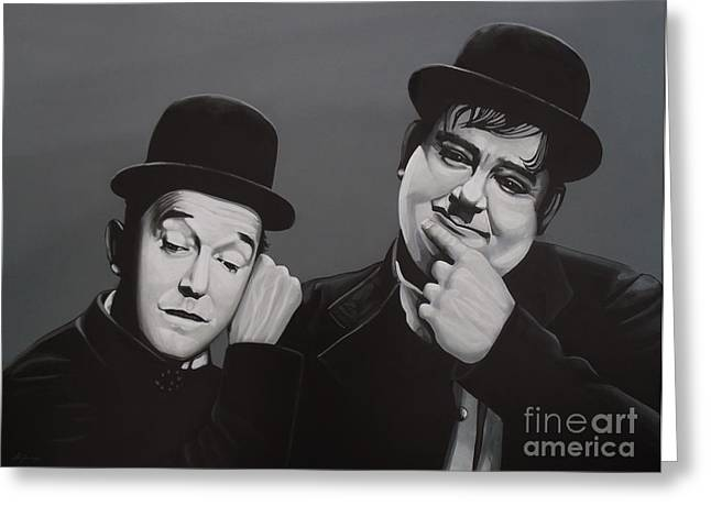 Oliver Greeting Cards - Laurel and Hardy Greeting Card by Paul  Meijering