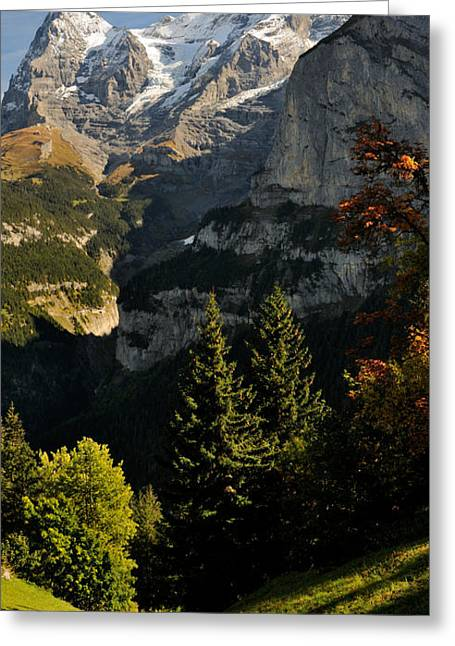 Murren Greeting Cards - Lauterbrunnen Valley With Mt Eiger Greeting Card by Panoramic Images