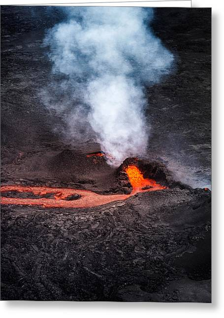 Sulfur Greeting Cards - Lava And Plumes From The Holuhraun Greeting Card by Panoramic Images