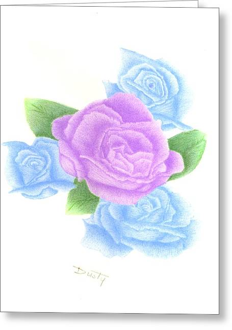 Quartet Drawings Greeting Cards - Lavender Blue Quartet Greeting Card by Dusty Reed