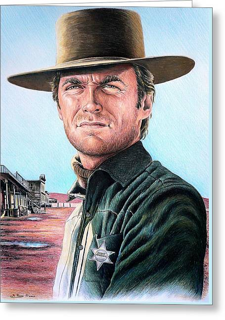 Cowboy Sketches Greeting Cards - Law and Order Greeting Card by Andrew Read