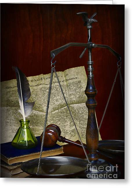 Advocate Greeting Cards - Lawyer - Scales of Justice Greeting Card by Paul Ward