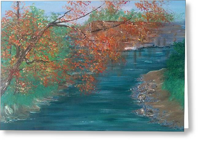 Indiana Autumn Paintings Greeting Cards - Lazy River Greeting Card by Laura Inniger