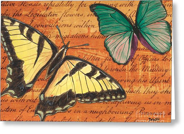 Handwritten Greeting Cards - Le Papillon 3 Greeting Card by Debbie DeWitt