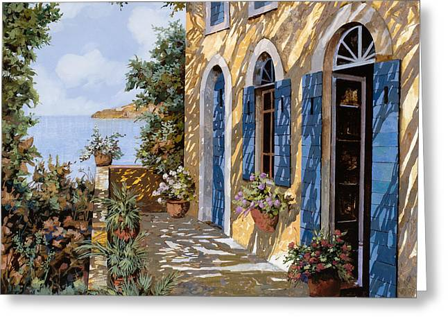 Blue Doors Greeting Cards - Le Porte Blu Greeting Card by Guido Borelli