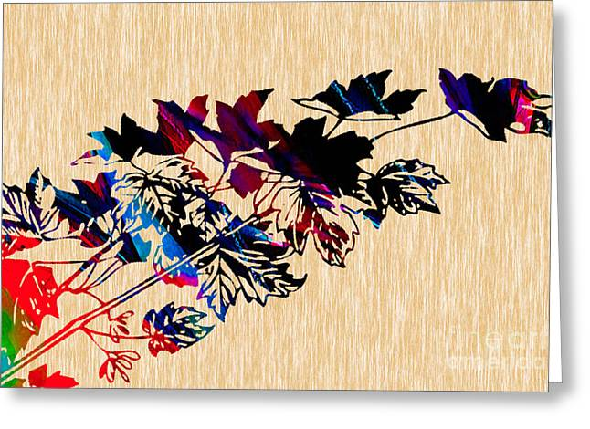 Autumn Photographs Mixed Media Greeting Cards - Leaves Painting Greeting Card by Marvin Blaine