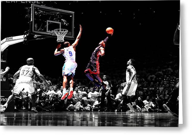 Miami Heat Digital Art Greeting Cards - Lebron James Greeting Card by Brian Reaves