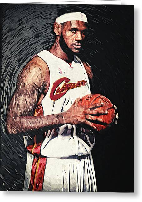 Nba Art Greeting Cards - LeBron james Greeting Card by Taylan Soyturk