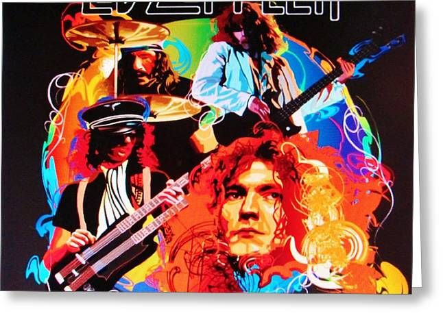 Recently Sold -  - Pop Singer Greeting Cards - Led Zeppelin Art Greeting Card by Donna Wilson