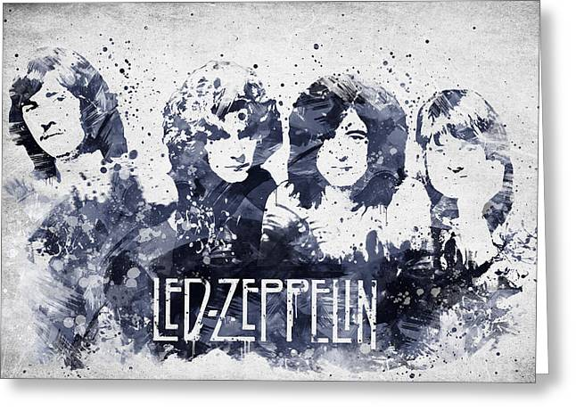 Hard Rock Mixed Media Greeting Cards - Led Zeppelin Portrait Greeting Card by Aged Pixel