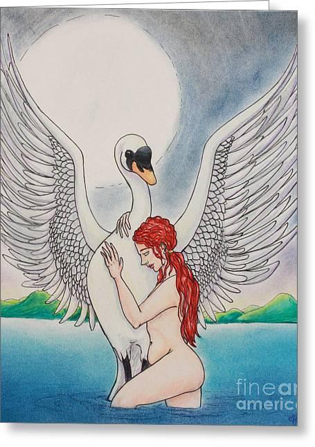 Greek Pastels Greeting Cards - Leda Greeting Card by J Dreag Karski