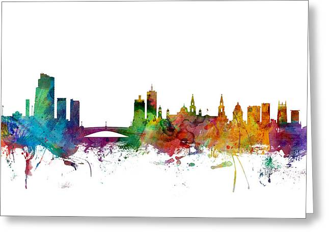 Leeds Greeting Cards - Leeds England Skyline Greeting Card by Michael Tompsett