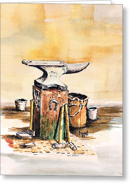 Hammer Paintings Greeting Cards - Lees Anvil Greeting Card by Sam Sidders