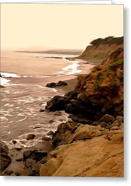 Coast Highway One Greeting Cards - Leffingwell Landing Cambria Digital Painting Greeting Card by Barbara Snyder
