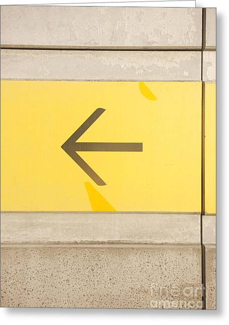 Directional Signage. Greeting Cards - Left Direction Wall Greeting Card by Ryan Jorgensen
