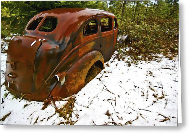 Rusted Cars Digital Art Greeting Cards - Left to Rust Greeting Card by Dale Stillman
