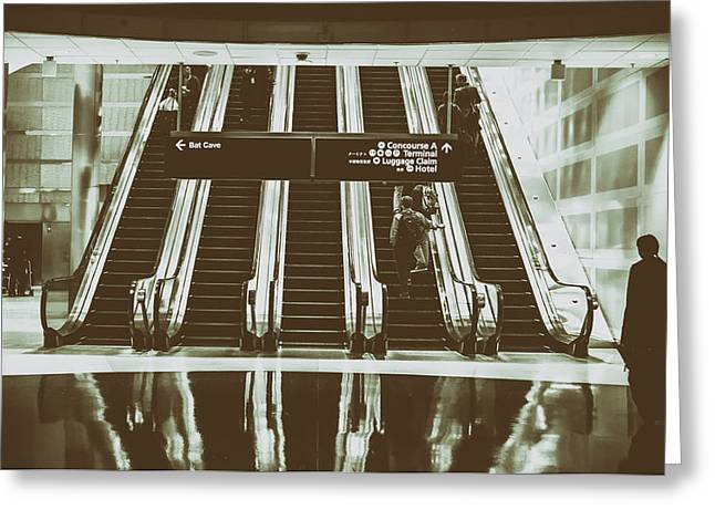 Airport Concourse Greeting Cards - Left to the Bat Cave Greeting Card by Ryan McGuire