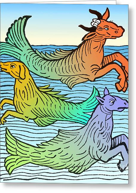 Sea Horse Greeting Cards - Legendary Sea Creatures 15th Century Greeting Card by Science Source