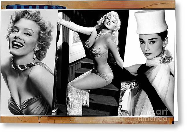 Monroe Greeting Cards - Legends Marilyn Monroe Jane Mansfield and Audrey Hepburn Greeting Card by Marvin Blaine