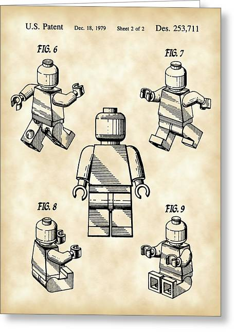 Lego Figure Patent 1979 - Vintage Greeting Card by Stephen Younts
