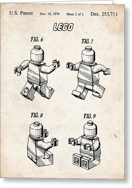 Lego Minifigure Patent Art Greeting Card by Stephen Chambers