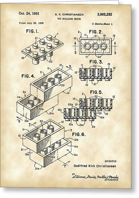 Built Greeting Cards - Lego Patent 1958 - Vintage Greeting Card by Stephen Younts