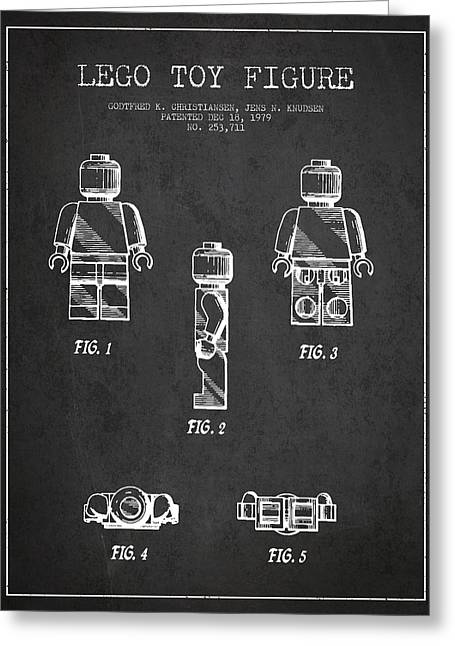 Lego Toy Figure Patent - Dark Greeting Card by Aged Pixel